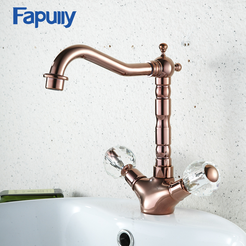 Fapully Bathroom Basin Rose Gold Faucet Brass Dual Handle Crystal Deck Mounted Cold and Hot Water Mixer Tap pastoralism and agriculture pennar basin india