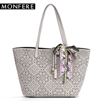 MONFER large fashion TOTE bucket TOP HANDLE Bags for women 2017 hollow out floral print casual shopping beach bag scarf handbag