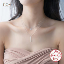 ROXI 925 Sterling Silver Double Layers Collarbone Necklace Round CZ Zircon Geometric Pendant Necklace Multilayer Chain Necklace(China)