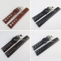 20mm T91 High Quality Silver Butterfly Buckle +PRS516 Black white orange line brown Genuine Leather Watch Bands Strap