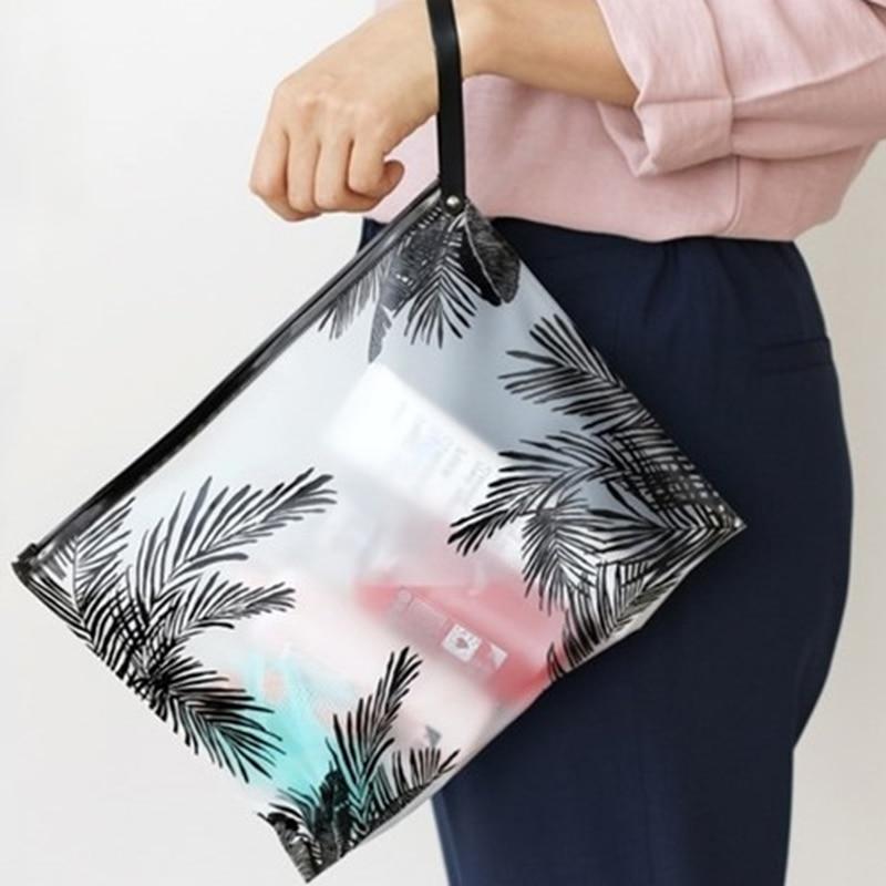 De las mujeres de la moda cosmético claro de PVC bolsas de aseo viajes organizador belleza necesaria caso maquillaje bolsa de baño lavado hacer caja