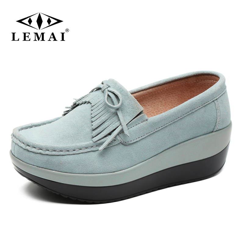 LEMAI Suede Fringe Wedge Platform Women Shoes Spring Autumn Ladies Travel Shoes Genuine Leather Casual Shoes Woman LEMAI Suede Fringe Wedge Platform Women Shoes Spring Autumn Ladies Travel Shoes Genuine Leather Casual Shoes Woman