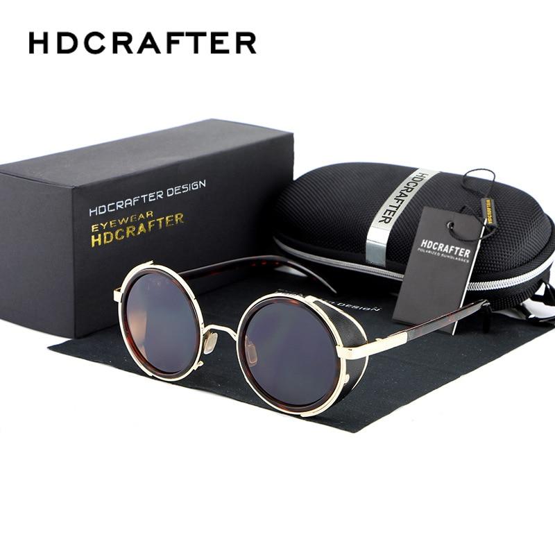 HDCRAFTER Marca 2017 Retro Do Vintage Steampunk Óculos De Sol Redondos Óculos De Sol Para Homens / Mulheres Unisex Óculos Acessórios