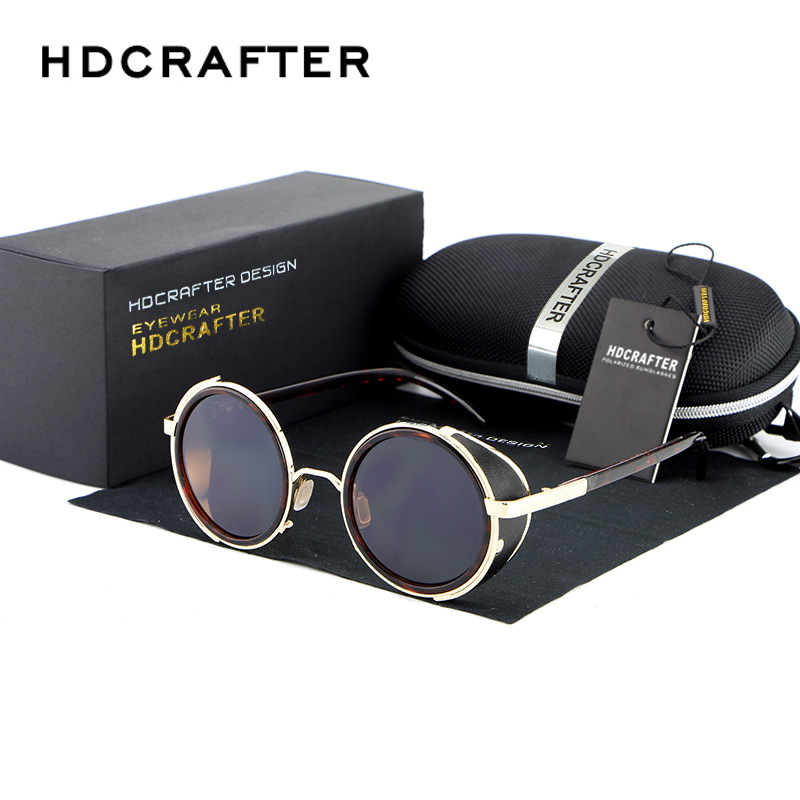 HDCRAFTER Марка 2017 Ретро Винтидж Steampunk слънчеви очила Кръгли слънчеви очила за мъже / жени Унисекс аксесоари за очила