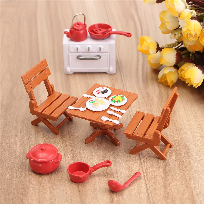 DIY Plastic DollHouse Mini Picnic Set Acessories For Children 1/12 Dolls House Miniatura Decor Table Furniture Toy Sets