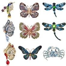 Эмалированные бабочки, броши в виде крабов для мужчин и женщин, металлические стразы, насекомые, брошь для банкета, свадебного букета, подарки