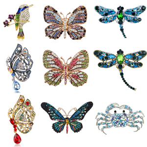 Enamel Butterfly Bragonfly Bird Crab Brooches for Men And Women's Metal Rhinestone Insects Banquet Wedding Bouquet Brooch Gifts(China)