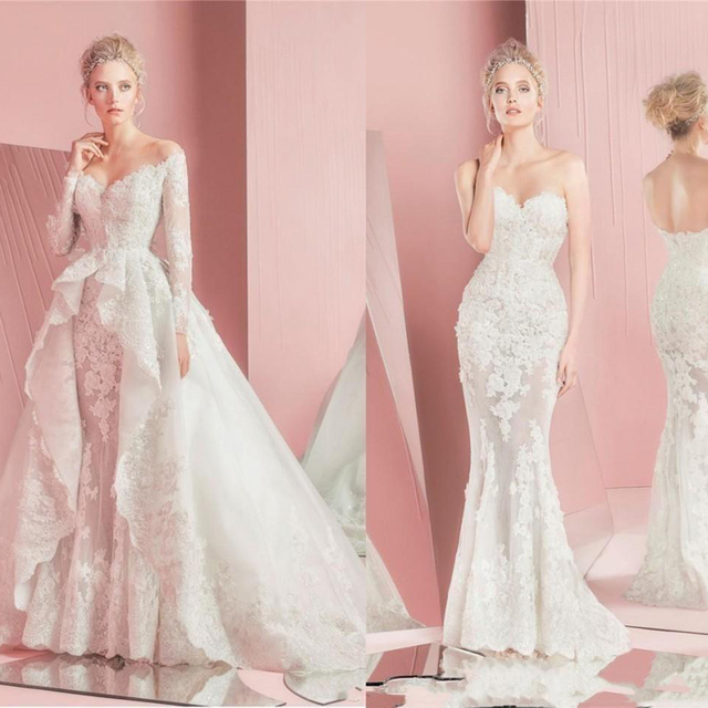 Romantic Mermaid Wedding Gowns with Detachable Overskirts 2017 Lace ...