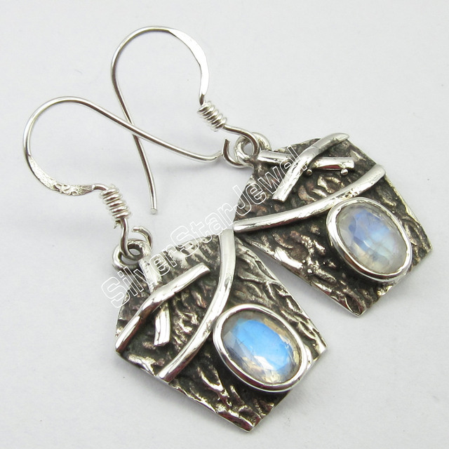 stone blue earrings silver moon moonstone and topaz sterling