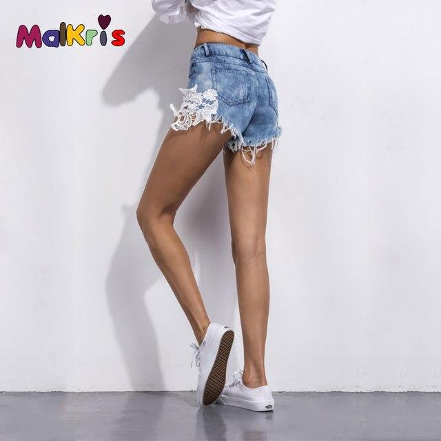 1916f58100ef 2017 Verano Bolsillo Rasgado Mujeres Shorts Feminino Casual Beach Denim  Shorts Mujeres Vintage Hot Sexy de Encaje Pantalones Cortos de Mezclilla  Para ...