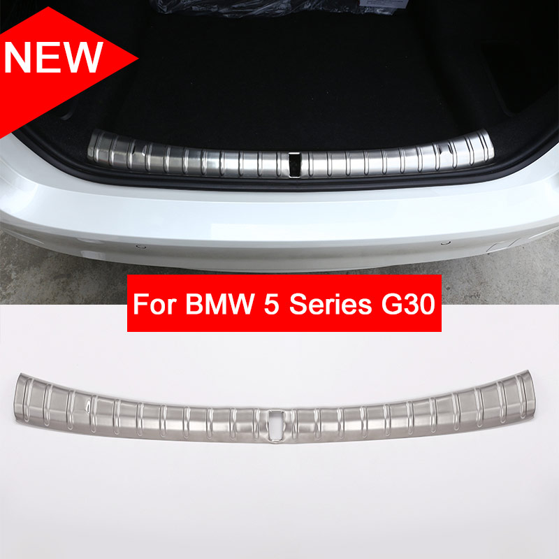 For BMW 5 Series G30 2017 2018 Car-Styling Rear Interior and outside Bumper Protector Plate 304 Stainless Steel Newest stainless steel car lock pick for bmw 5 7 series