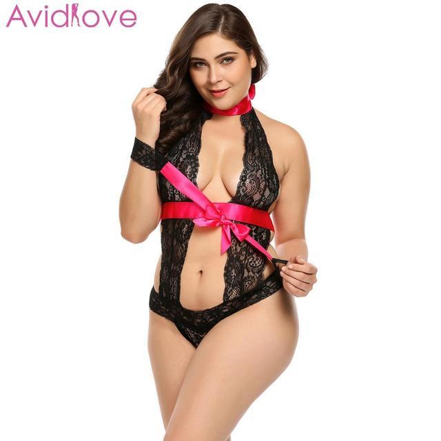 Avidlove Women Bodystocking Plus Size Sexy Costumes Erotic Bodysuit Teddy Cuffs Halter Lace Lingerie 1