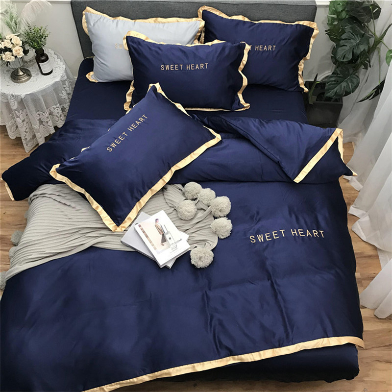 Home Textile Bedding Sets Adult Bedding Set Bed White Black Duvet Cover King Queen Size Quilt Cover Brief Bedclothes Comforter(China)