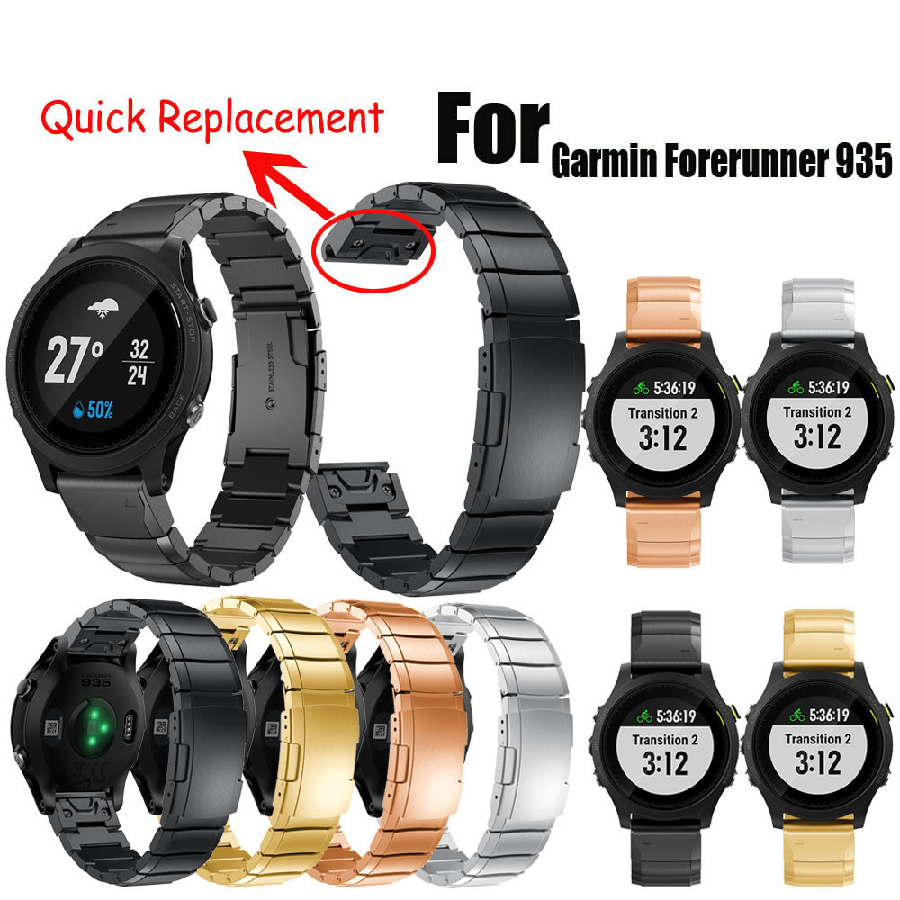 Genuine Stainless Steel Bracelet Quick Replacement Fit Band Strap Wristband For Garmin Forerunner 935 Watch dignity Nov.2 canvas nylon watchband tool for garmin fenix 5 forerunner 935 fr935 leather watch band sports strap steel buckle bracelet