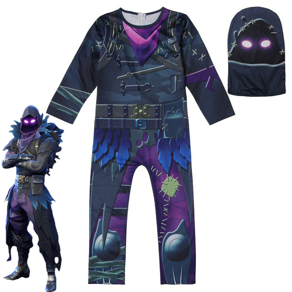 Flytrap Skin Decoration raven Boy Cosplay Clothes new year Costume Battle Royale Party Funny Kid Clothing Skull Trooper