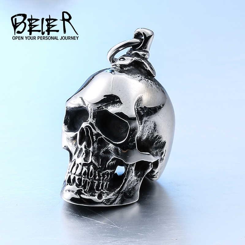 Beier novo grande aço inoxidável 3d pingente neckalce para o homem motociclista punk coleção crânio jóias BP8-042