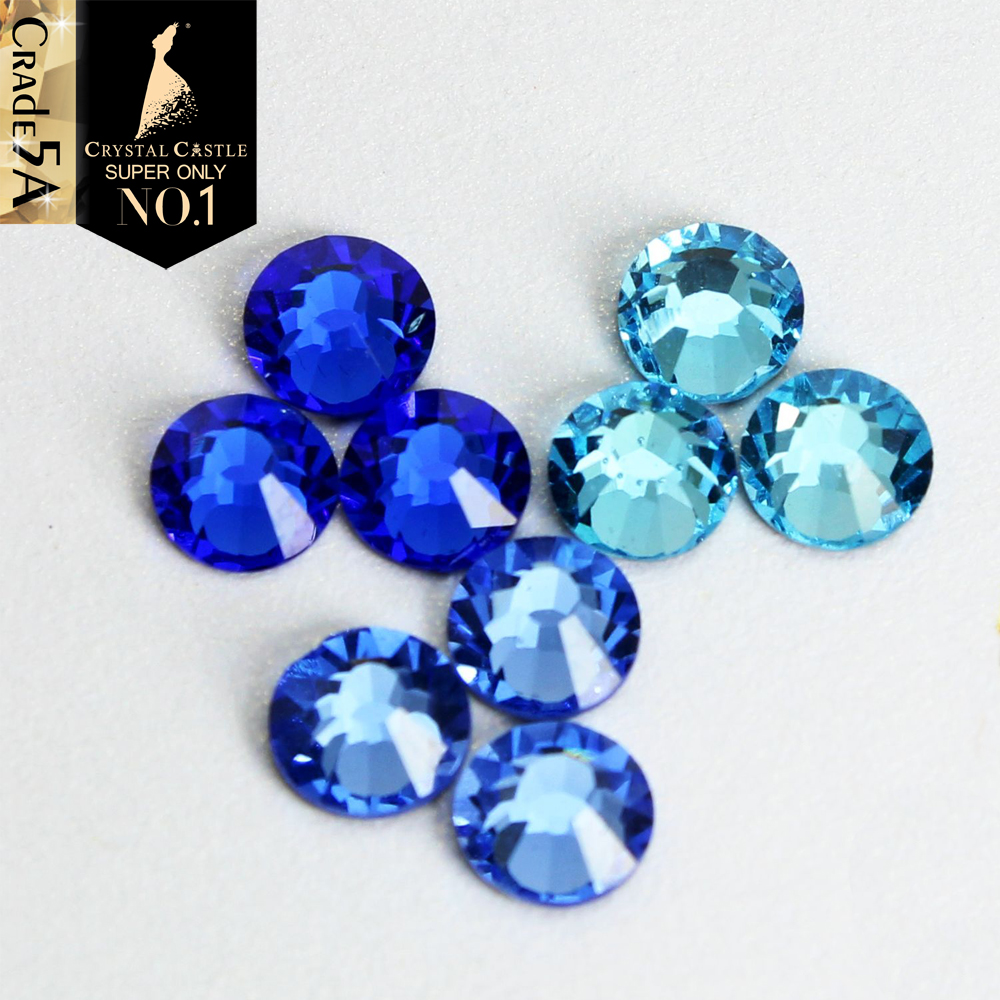 Crystal Castle Hot Fix Rhinestone Best Aquamarine Light Sapphire Dark Aqua Strass Hotfix Aqua Iron On Stones For Bridal Dress