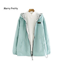 MERRY PRETTY 2018 Autumn Women Bomber Basic Jacket Pocket Zipper Hooded Two Side