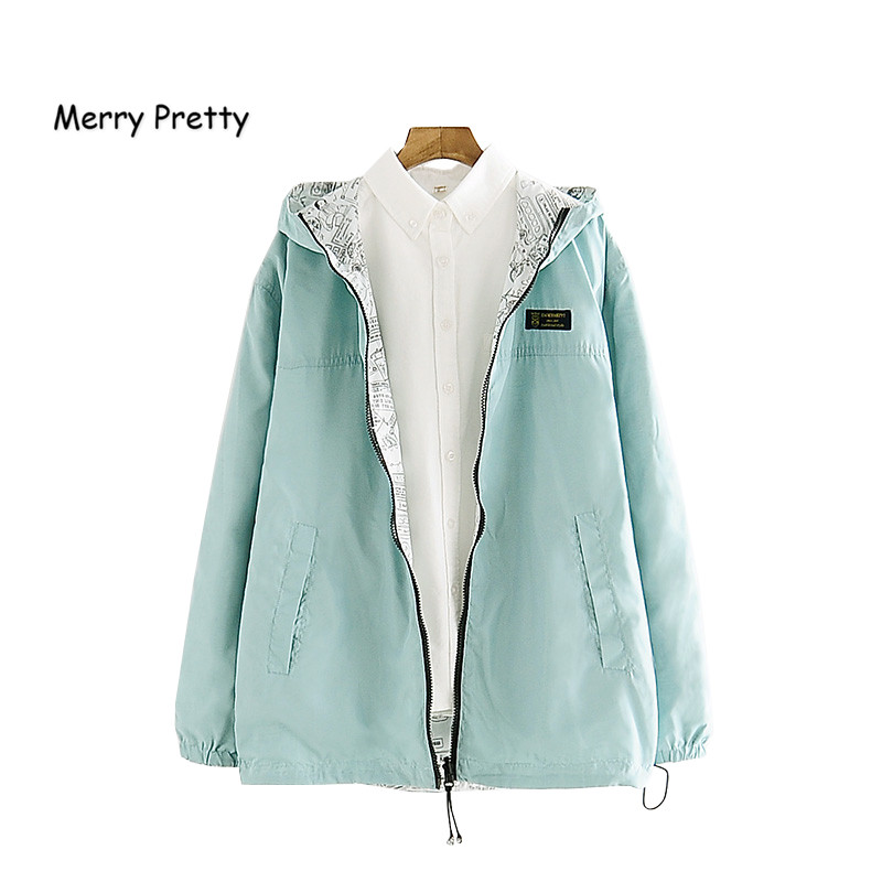 MERRY PRETTY 2018 Autumn Women Bomber   Basic     Jacket   Pocket Zipper Hooded Two Side Wear Cartoon Print Outwear Loose Coat