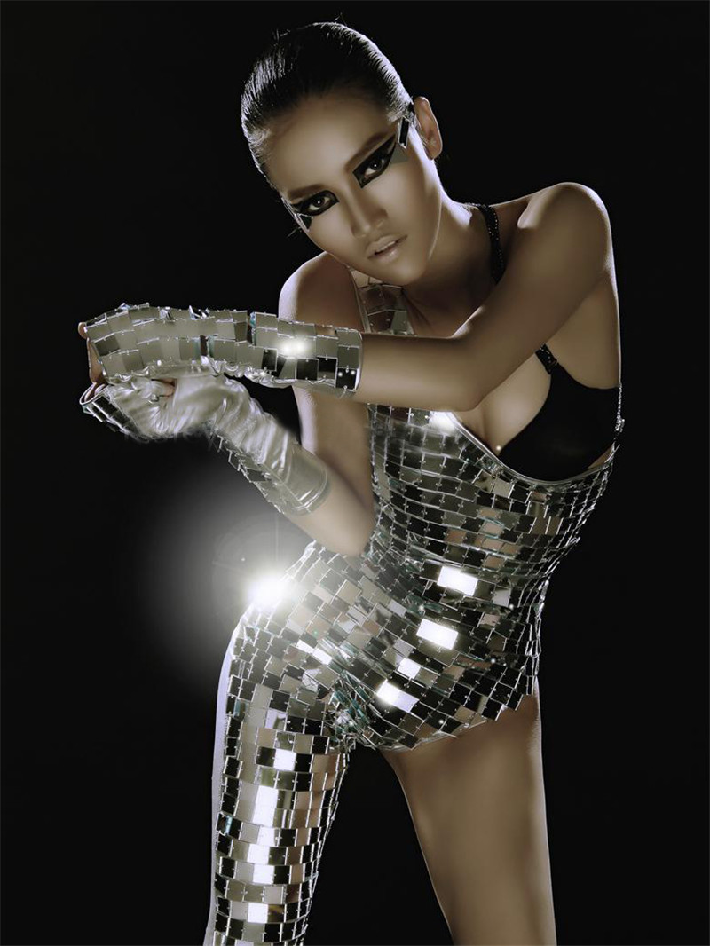 Sexy Female Singer Sequin Bodyss ds Objektiivi kaldus Silver Star Strass Peegel kostüüm Naiste Performance Dance Bodysuit Wear