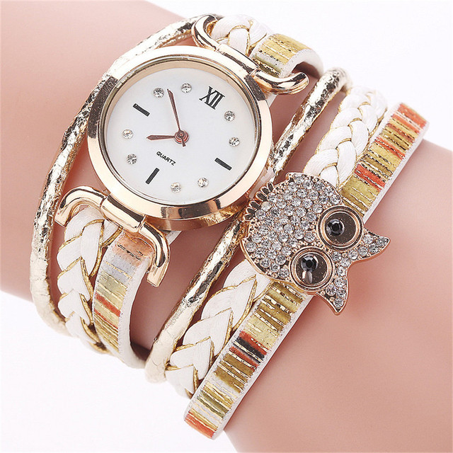 CCQ Women Fashion Casual Analog Quartz Women Rhinestone Owl Bracelet Watch Luxur