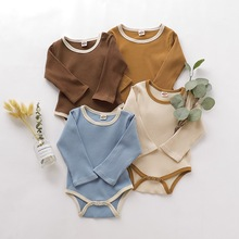 4Color 3-18M Toddler Baby Girls Clothes Basic Pure Color Outfit Long Sleeve Cotton Romper Solid Jumpsuit Clothing D30
