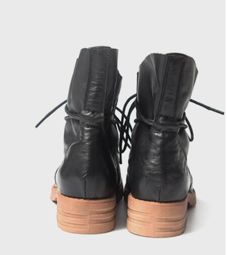 2016 new Spring genuine leather RETRO art soft short tube with low help tie Martin women boots,Blck& Coffee