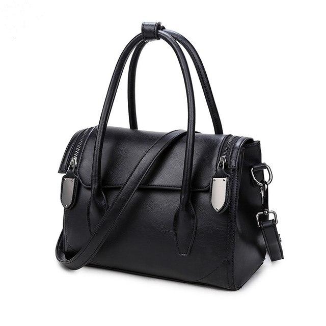 Hot Sale Vintage Pu Leather Women top-handble bags Mater Rivet Women Shoulder Bag Fashion Double Zipper Cover Women Bags