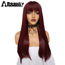 ANOGOL BEAUTY Hair Cap + Cooper Red Natural Long Straight High Temperature Fiber Synthetic Wig With Flat Bangs For Women Ladies(China)