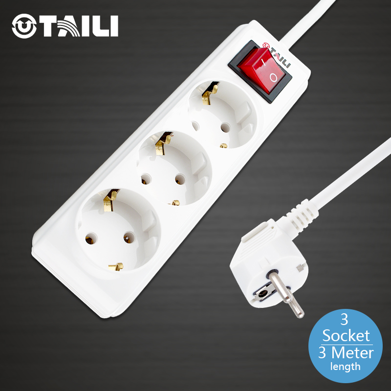 TAILI Brand Power Outlet EU Standard Wall Socket 3 Plug AC 110~250V 10A Surge Protection Charger, #TL42320SGB-OS