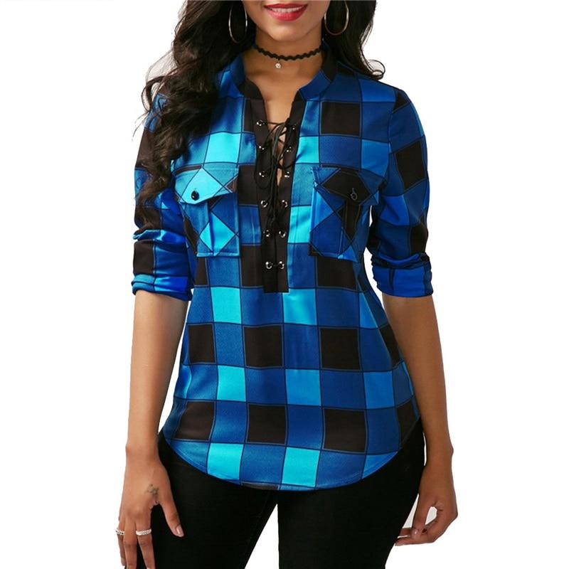 MoneRffi Spring Women Plaid   Shirt   Long Sleeve   Blouses     Shirt   Office Lady Cotton Lace Up Tunic Casual Tops Plus Size Blusas 5XL
