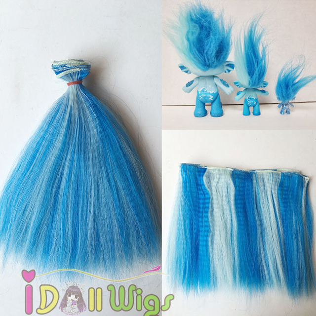 Pop Corn Wavy Blue White Blended Troll Hair Extensions Hair Weft In