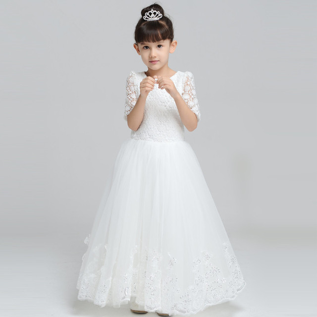 Long White Lace First Communion Dresses For Girls Appliqued Hem ...