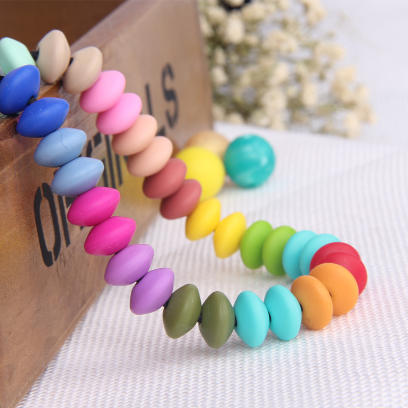 23mm*14.5mm Fashion Jewelry Silicone Loose Beads For Teething Necklace Food Safe DIY Silicone Rubber Beads For Baby Teether BPA