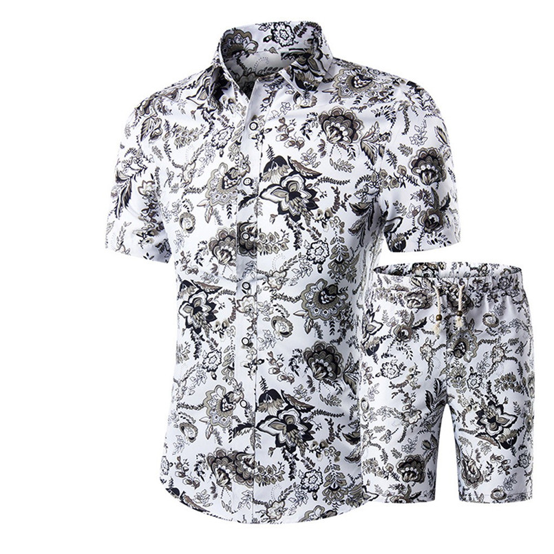 New Fashion Men Summer Leisure Men Suit Casual Slim Stand Collar Printing Short Sets Casual Daily Brief Two Pieces Sets #4R10
