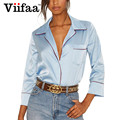 Viifaa Long Sleeve Women Satin Blouses Turn Down Collar Plus Size Vogue Tops Sexy V Neck Ladies Formal Blouse Shirts