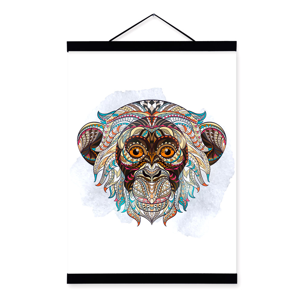 Modern Ancient <font><b>African</b></font> National Animals Monkey Face Totem A4 Big Framed Canvas Painting Wall Art Print Picture Poster <font><b>Home</b></font> <font><b>Decor</b></font>