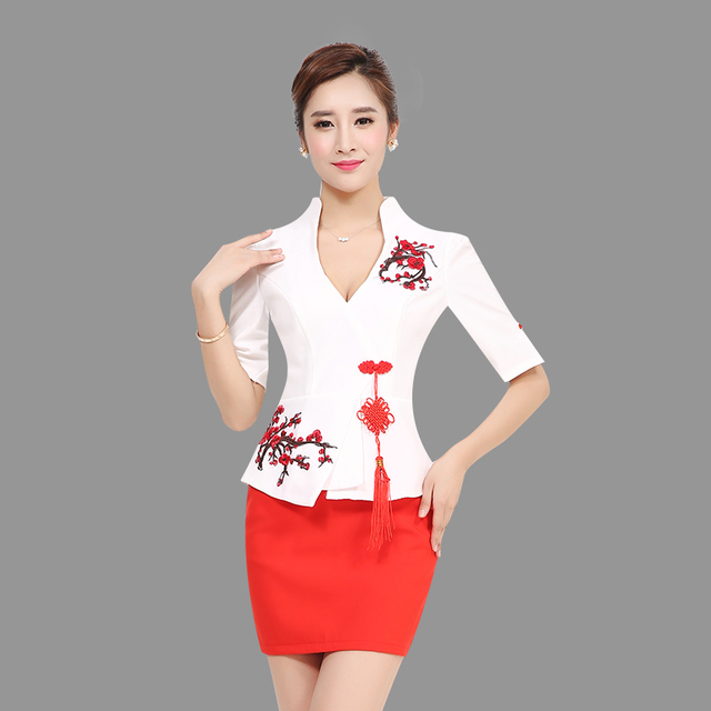 Women Elegant Vintage Chinese Knot Autumn Wear To Work Office Business Career OL Jacket blazer & Skirts Suit 2 Piece Sets