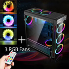 Iron Acrylic ATX Micro ATX Computer Gamer Gaming Case RGB Cooling Fan PC Case Tower Chassis Transparent Side Mini PC Case Black