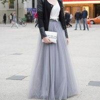 Thời Trang hàng đầu Màu Xám Tulle Váy A Lầu Đường Dây Dài Maxi váy Phong Cách Đường Phố Dài Váy Phụ Nữ Bán Nóng 2016 Tutu váy