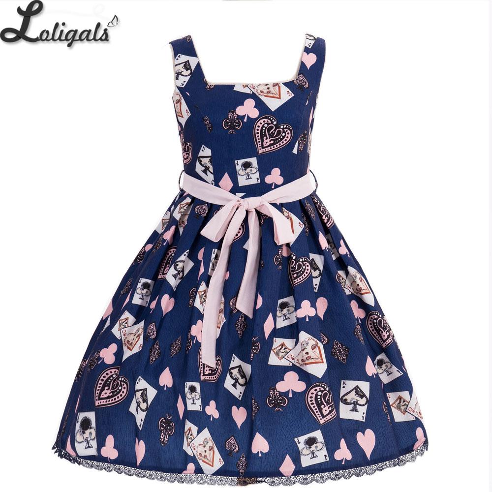 Sweet Women s Summer Tank Dress Poker Card Printed Short Dress