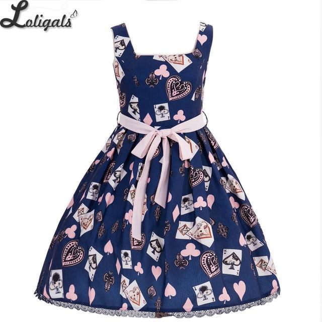 Sweet Women's Summer Tank Dress Poker Card Printed Short Dress