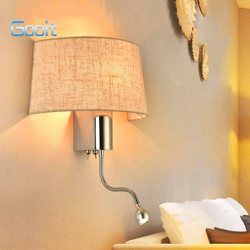 Fashion Modern Art High Grade Fabric Wall Lamp For Home Bedroom Living Room Decoration Wall Light Dual Light