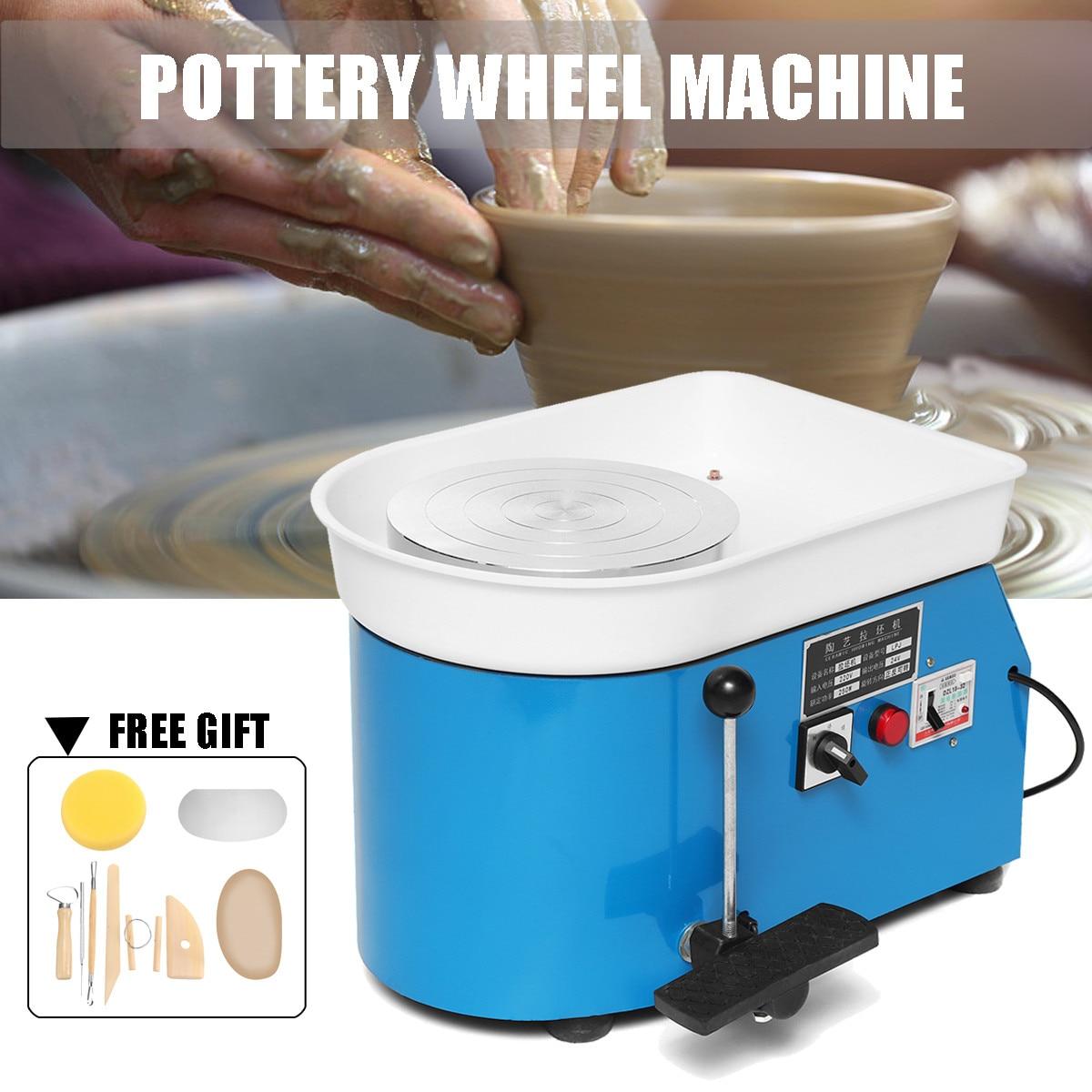 US élégant bleu électrique poterie roue Machine accessoire céramique argile outil pied pédale Art artisanat 250 W 110 V