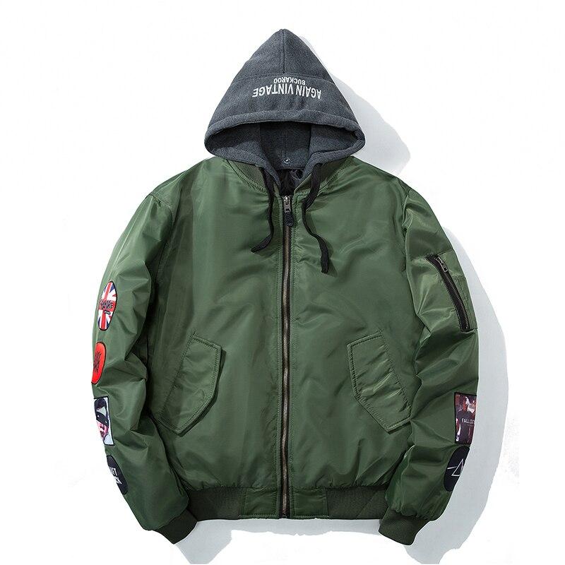 Hetobeto Bomber Veste D'hiver Hommes Veste Avec Capuche Mode Outwear Automne Hommes Manteau de Bombe Baseball Vestes