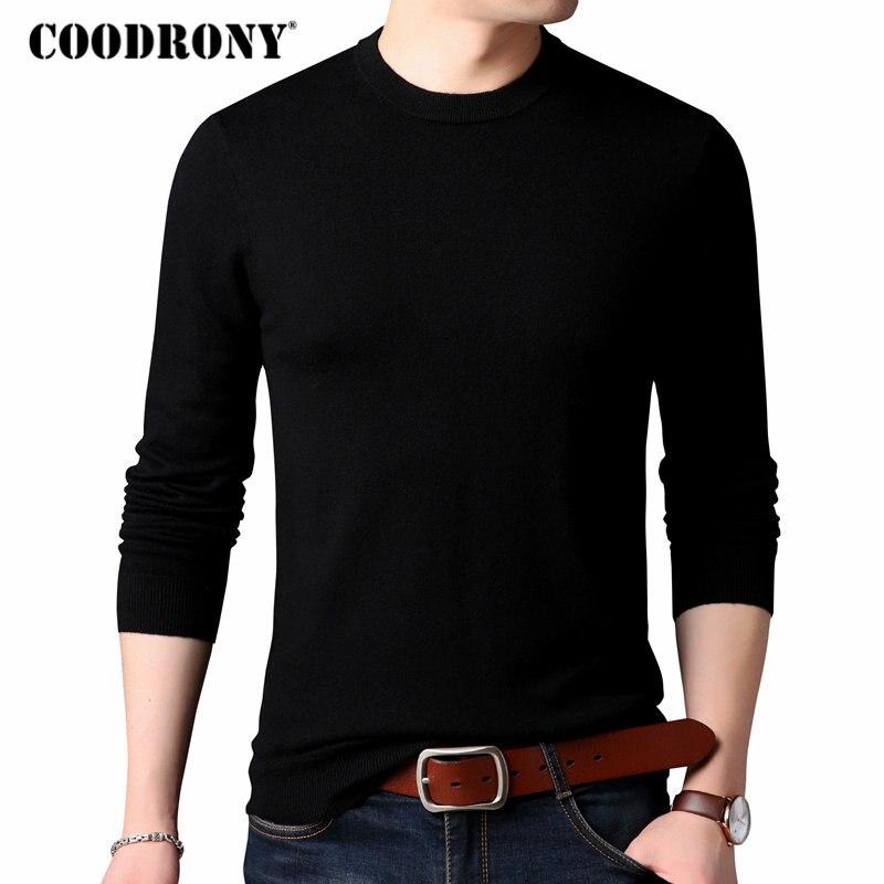 COODRONY Chandail Hommes Classique Couleur Pure O-cou En Cachemire Pull Hommes Vêtements 2018 Hiver Épais Chaud 100% Laine Mérinos Chandails 04