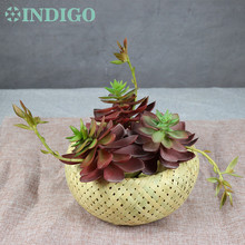 INDIGO - White Snow Flower Artificial Succulent Plant Plastic Table DecorationFree Shipping