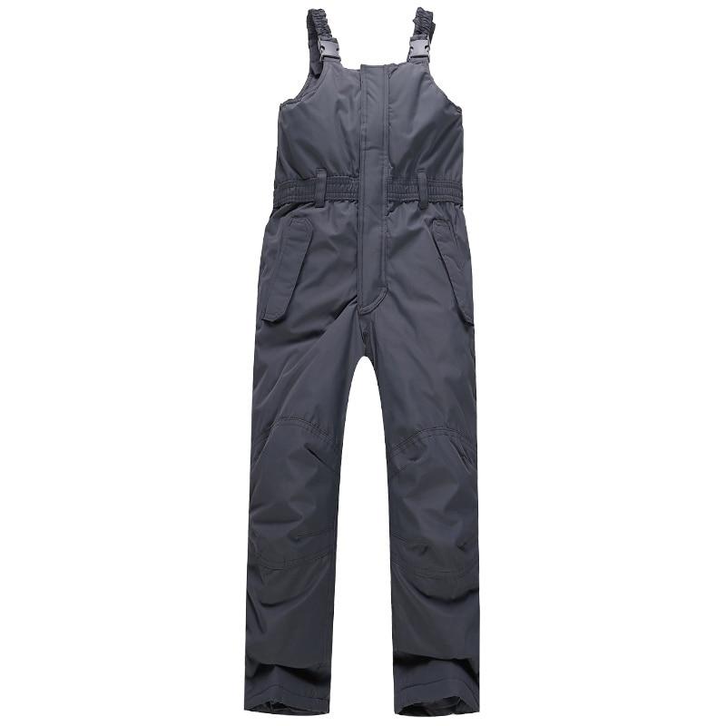 Dziewczęce wodoodporne grube szare spodnie narciarskie Kombinezony - Ubrania sportowe i akcesoria