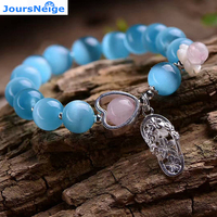 Wholesale Blue Natural Cat Eye Stone Bracelets 925 Silver Shoes Pendant For Women Original Design Crystal Hand string Jewelry