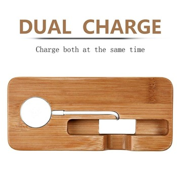 XMXCZKJ Ɯ�製ための Dock Ņ�電ステーション携帯電話ホルダースタンド竹充電器スタンドベース Apple Á�時計とのための Iphone